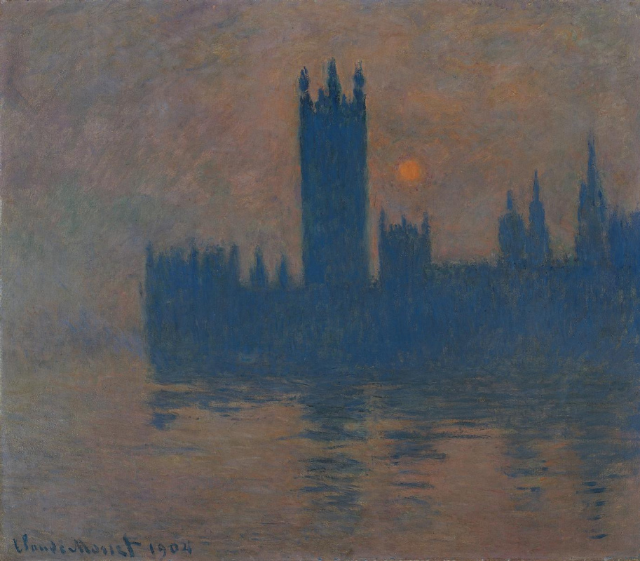 Claude Monet. Parliament house at sunset