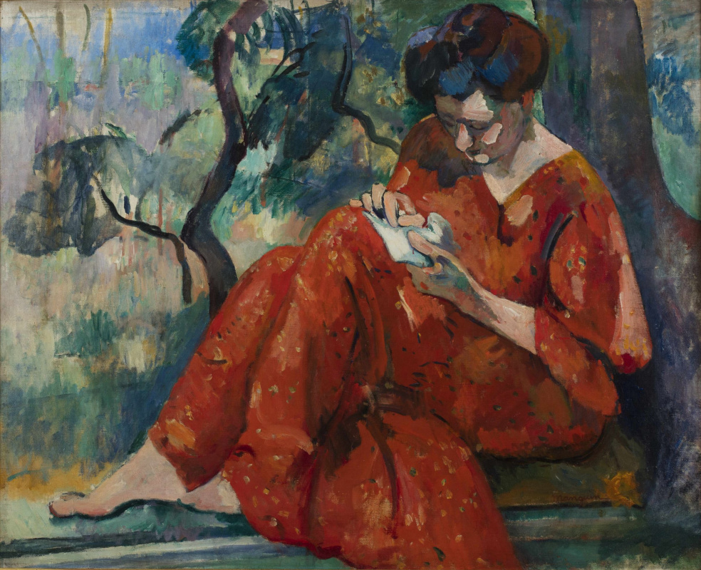 Henri Manguin. Cousin Jeanne in a red dress