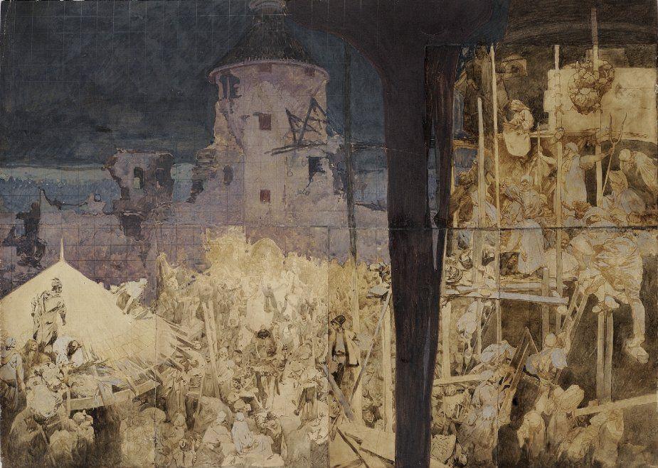Альфонс Муха. Эскиз к картине «Николай Зринский защищает Сигет от турок»