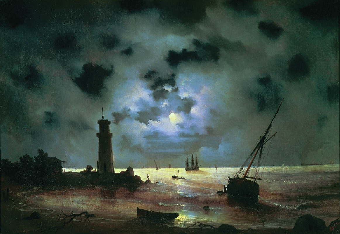 Ivan Aivazovsky. The sea shore at night. At the lighthouse