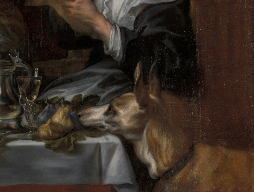 "Jacob Jordaens. ""The old men sing, the young play."" Fragment: dog"