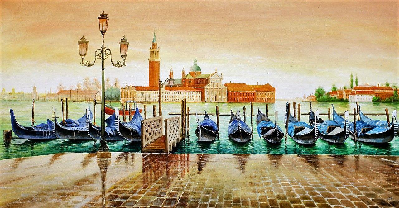 Alexander Romm. Gondolas. View of San Giorgio Maggiore. Sunset effect