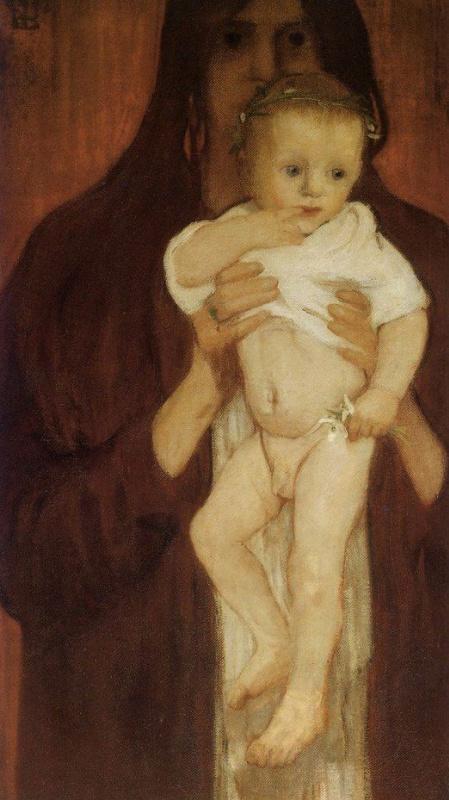 Elena Konstantinovna Luksh-Makovskaya. Self-portrait with her son Peter