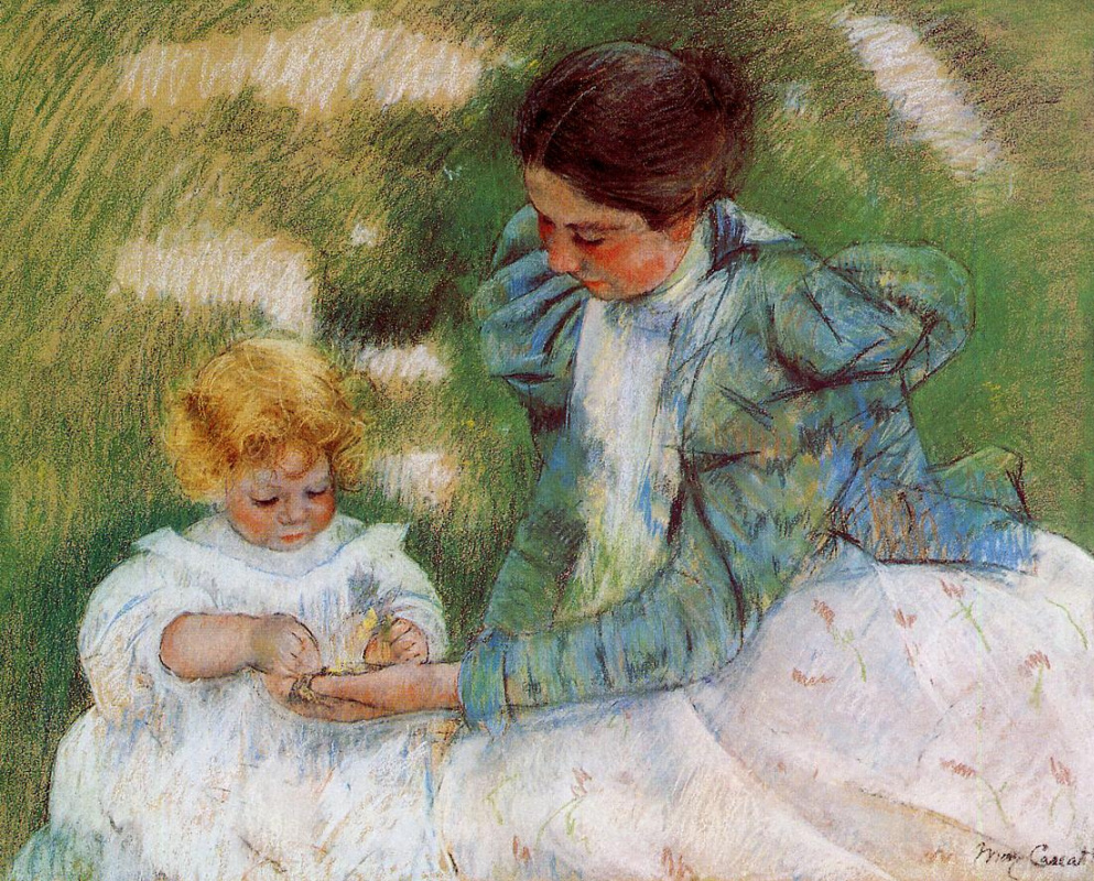 Mary Cassatt. Mother playing with her child