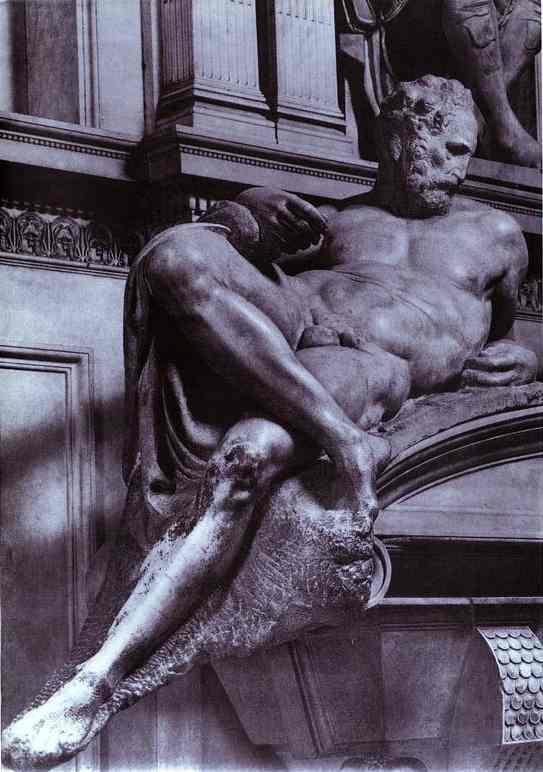 Микеланджело Буонарроти. Гробница Лоренцо Медичи. Фрагмент.