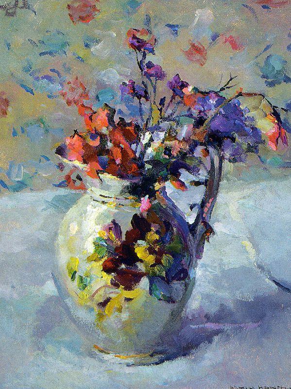 Армин Хансен. Ваза с цветами на столе