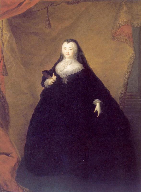 Портрет Елизаветы Петровны в черном маскарадном домино с маской в руках