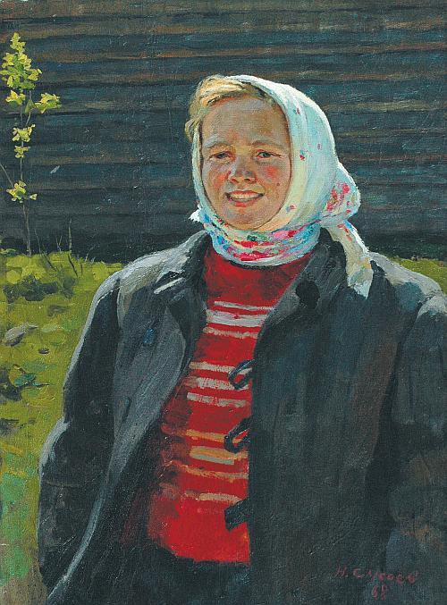 Nikolay Alexandrovich Sysoev. Girl in a scarf. Etude
