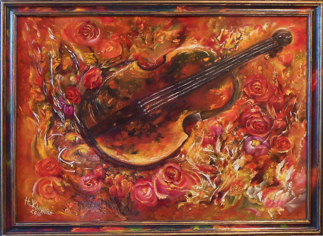 Natalya Zhdanova. Painting violin still life with roses