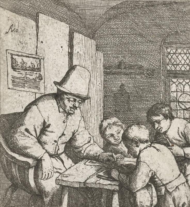 Адриан Янс ван Остаде. Школьный учитель с тремя учениками за столом