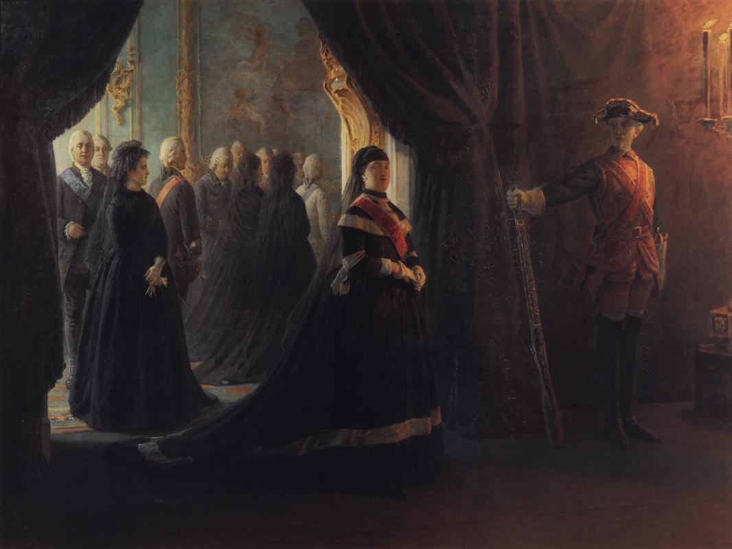 Nikolai Nikolaevich Ge. Catherine II at the coffin of Empress Elizabeth