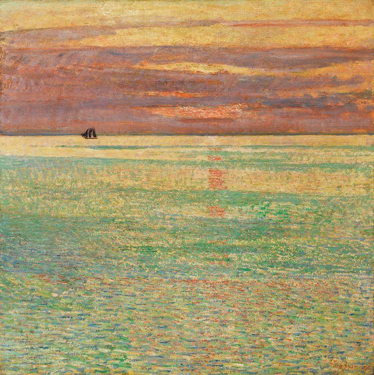 Childe Hassam. Sunset at sea