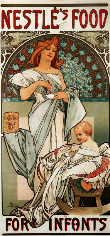 """Альфонс Муха. Рекламный плакат """"Питание Нестле для детей грудного возраста"""""""