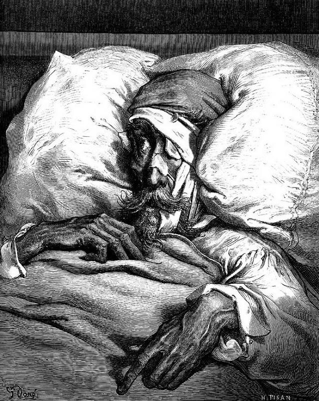 """Поль Гюстав Доре. Дон Кихот после сражения с котом. Иллюстрация к роману М.Сервантеса """"Дон Кихот"""""""