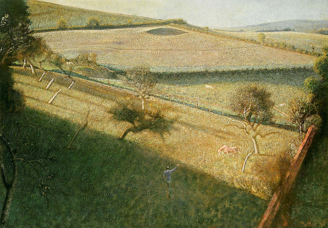Balthus (Balthasar Klossovsky de Rola). Large landscape with trees and fields