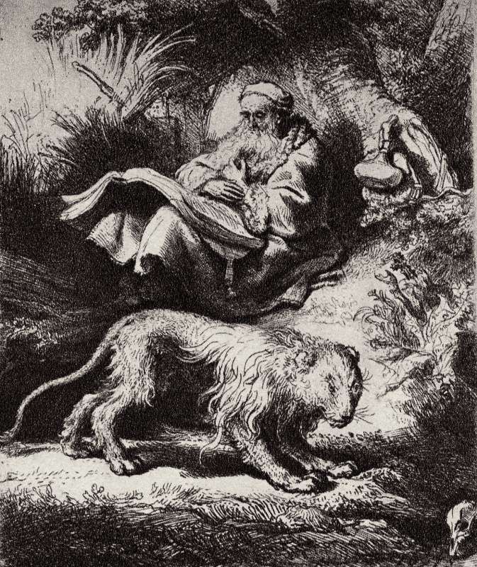 Рембрандт Харменс ван Рейн. Читающий святой Иероним под деревом