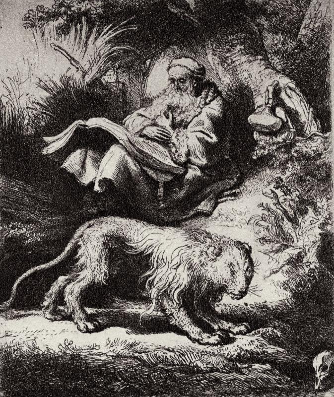 Rembrandt Harmenszoon van Rijn. Saint Jerome reading under a tree