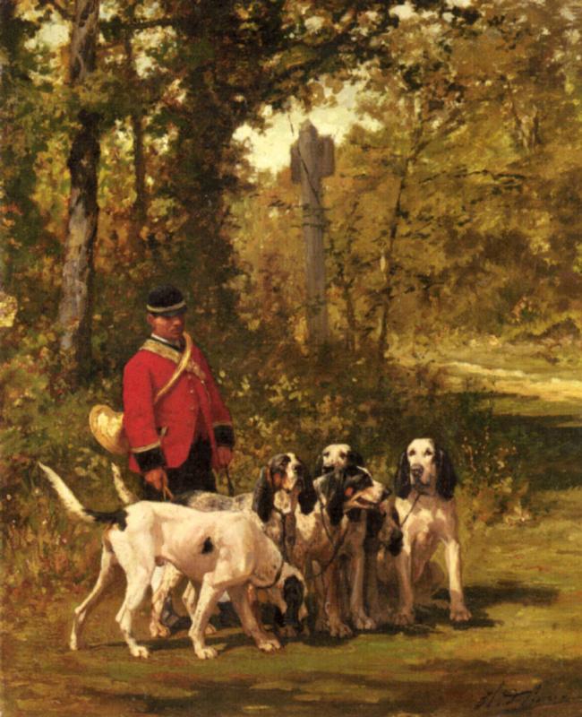 Чарльз Оливье де Пенне. Охотник  со своими собаками на лесной тропе