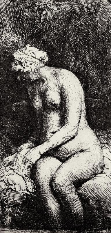 Рембрандт Харменс ван Рейн. Обнажённая с ногами, опущенными в воду