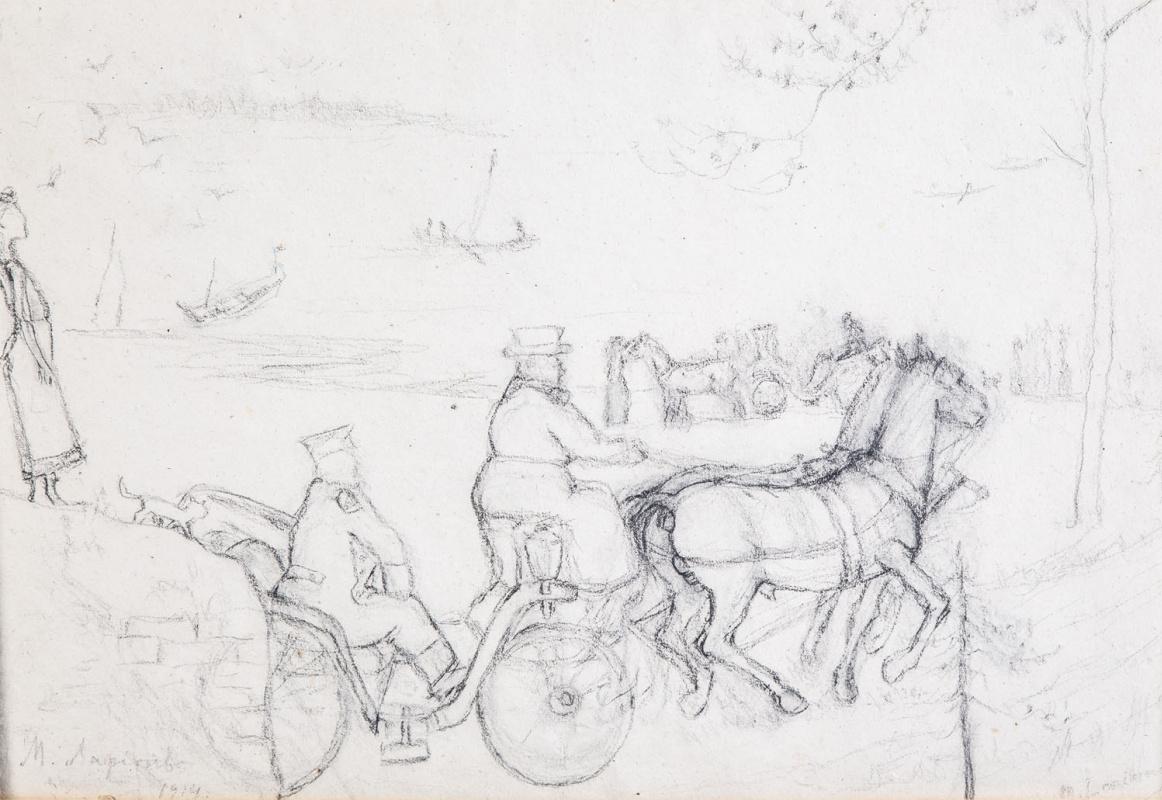 Михаил Федорович Ларионов. Конные экипажи на фоне озера