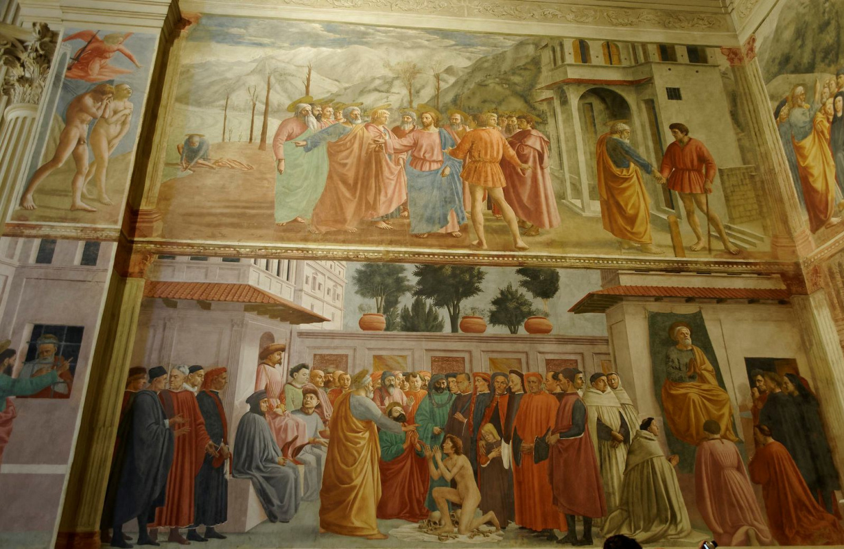 Tommaso Masaccio. The frescoes of the Brancacci Chapel: The Expulsion of Adam and Eve. Miracle with a statir. The resurrection of the son of Theophilus and St. Peter in the pulpit