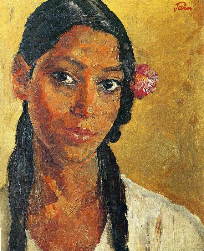 Джон Август. Девушка с цветком в волосах