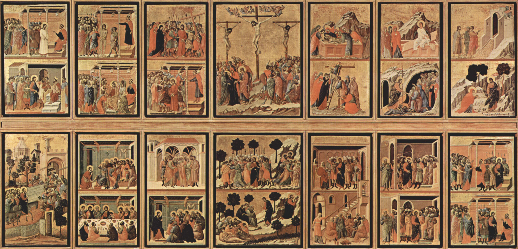 Дуччо ди Буонинсенья. Маэста, алтарь сиенского кафедрального собора, оборотная сторона, Регистр со сценами Страстей Христовых, общий вид