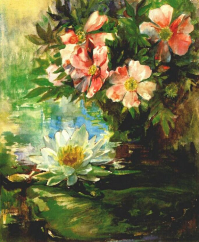 Ла Фарж. Дикие розы и лилии