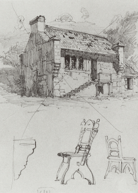 Vasily Polenov. House. From traveling in Germany. Sketch