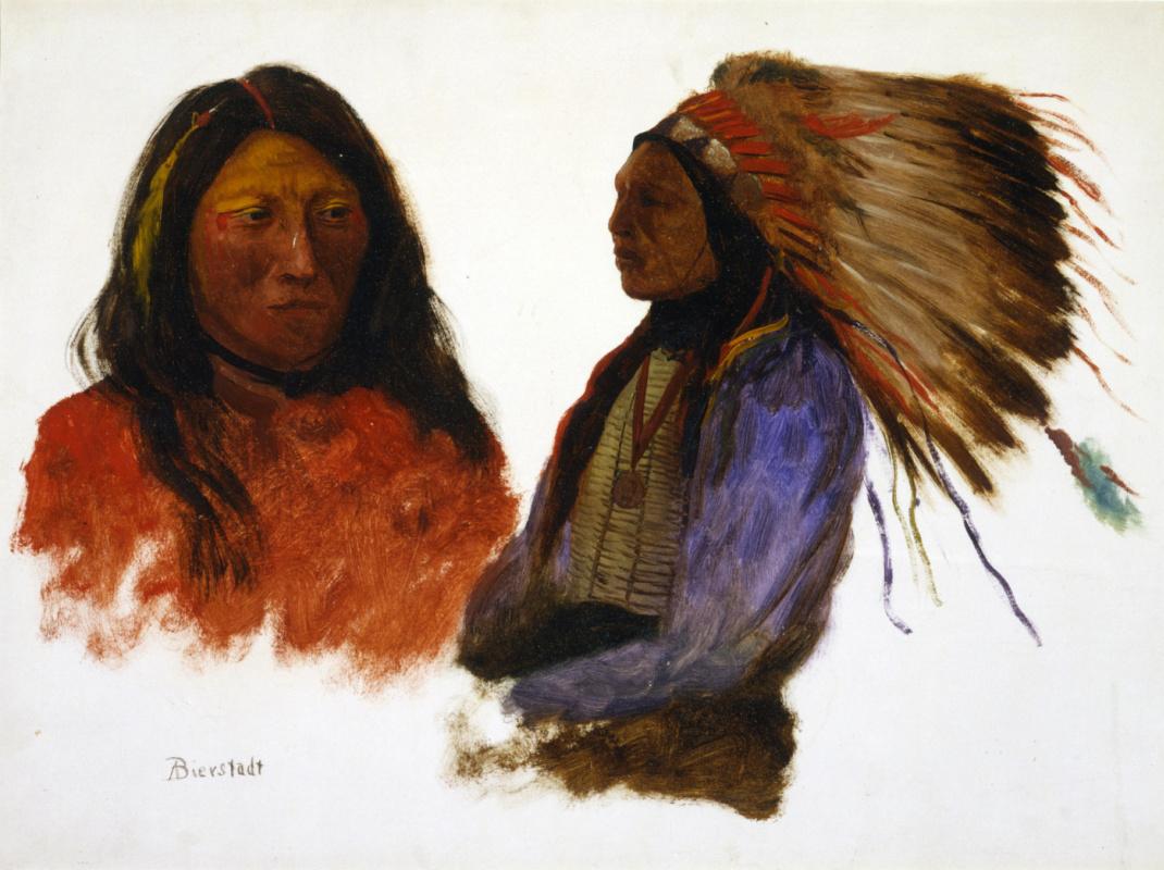 Альберт Бирштадт. Двойной портрет индейца в полных регалиях