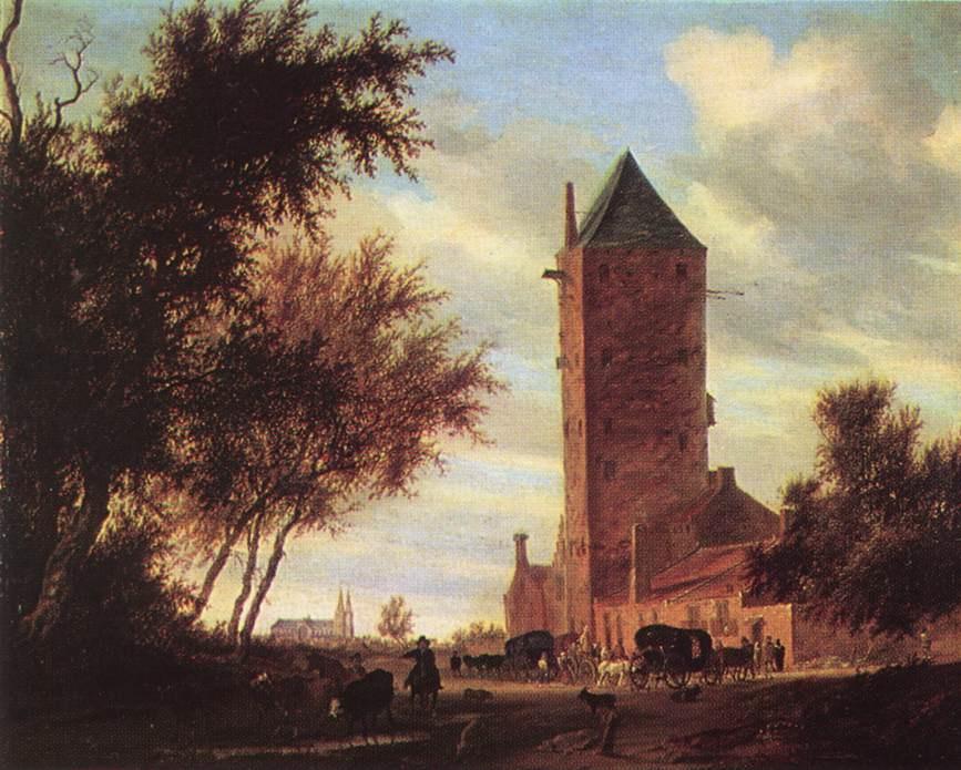 Саломон ван Рёйсдал. Башня на дороге