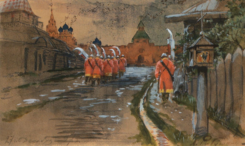 Andrei Petrovich Ryabushkin. Streletsky patrol at the Ilyinsky Gate in old Moscow. 1897