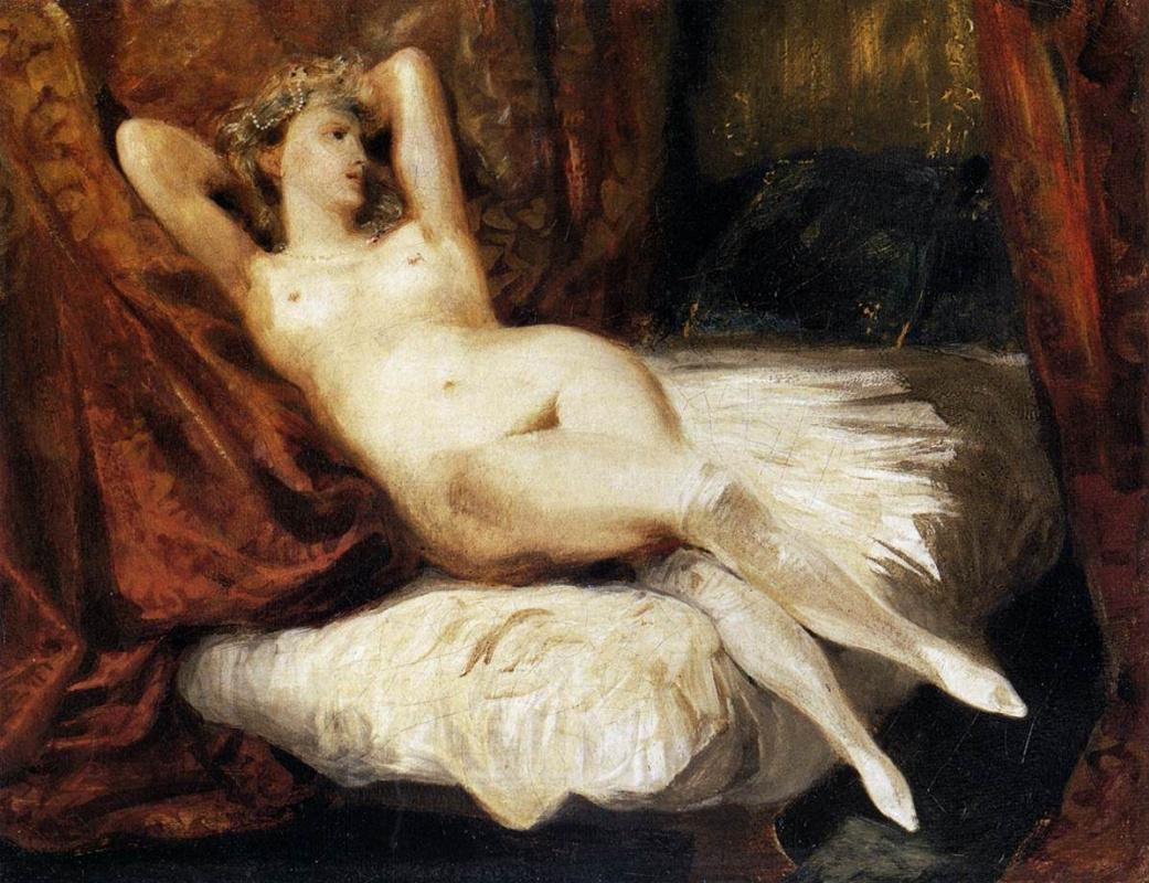 Eugene Delacroix. Nude on a sofa