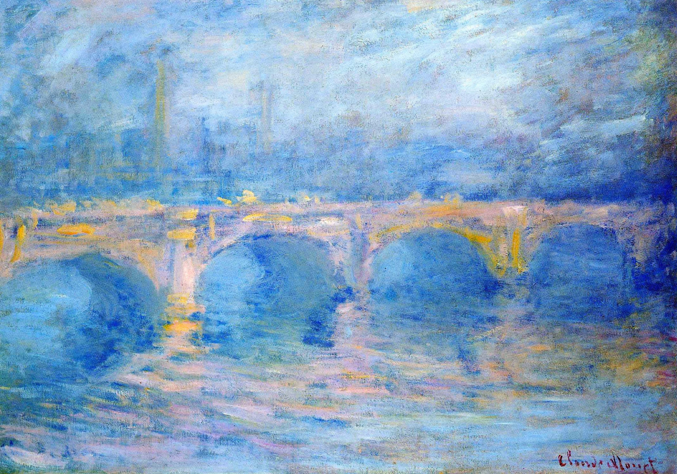 Клод Моне. Мост Ватерлоо на закате, розовый эффект