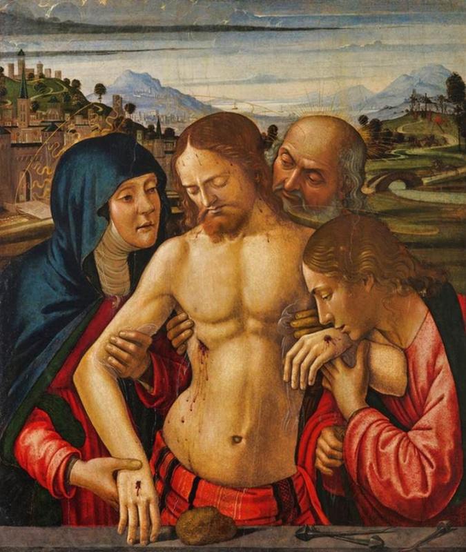 Давид Гирландайо. Христос, которого поддерживают Богородица, Святой Иоанн Евангелист и Иосифи из Аримафеи