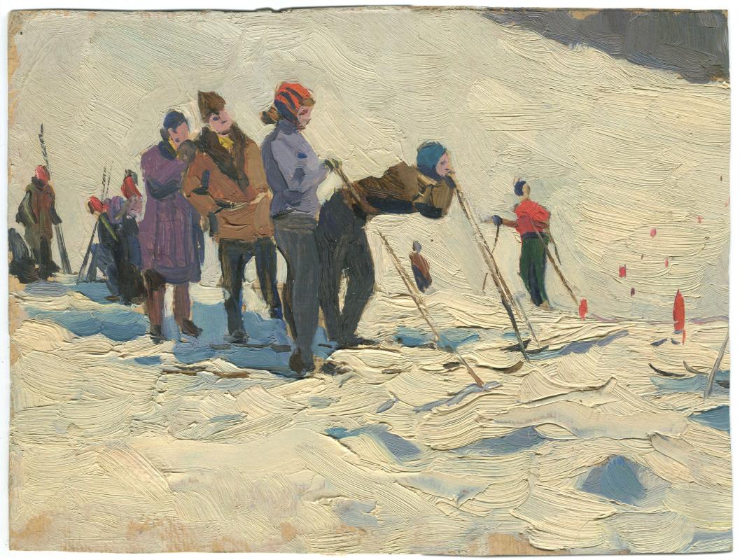 Alexandrovich Rudolf Pavlov. Skiers.