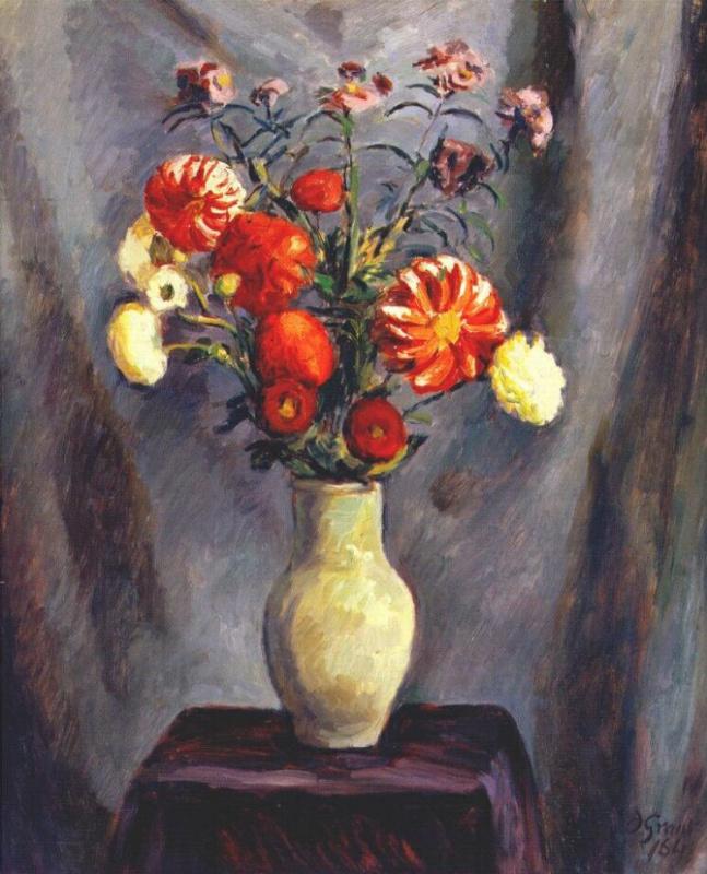 Мэлвин Грант. Осенние цветы в вазе на столе
