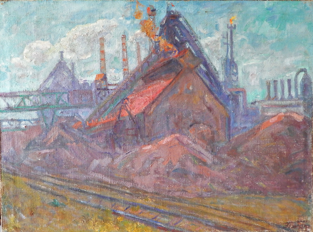 """Petr Yakovlevich Anurin. """"The blast furnaces in the Erzhof"""""""