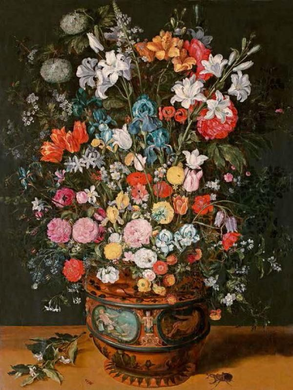 Ян Брейгель Младший. Большой букет из лилий, ирисов, тюльпанов, орхидей и пионов в вазе, декорированной изображениями Амфитриты и Цереры