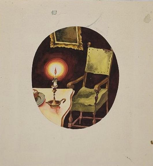 Стул со свечой. Иллюстрация к книге «Сказки и истории» Ганса Христиана Андерсена