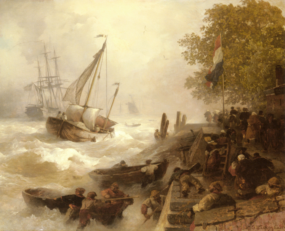 Андреас Ахенбах. Ахенбах вход в гавань в бурном море