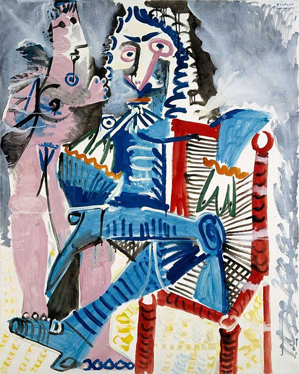 Pablo Picasso. Standing Nude and seated musketeer