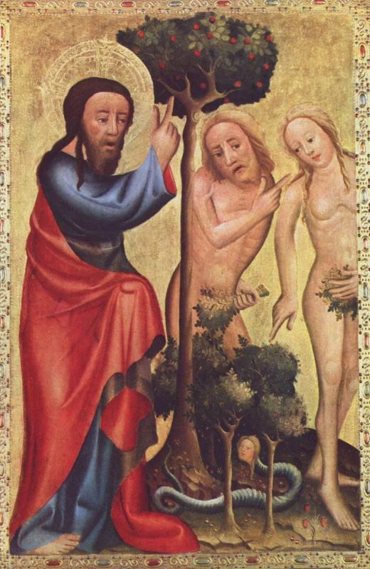 Бертрам из Миндена Минна. Бог-Отец наказывает Адама и Еву за ослушание. Грабовский алтарь, правая створка