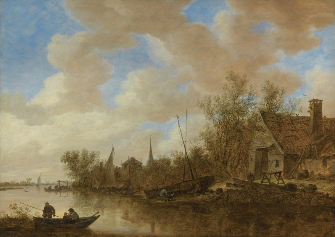 Jan van Goyen. River landscape with fishermen and men repairing the boat