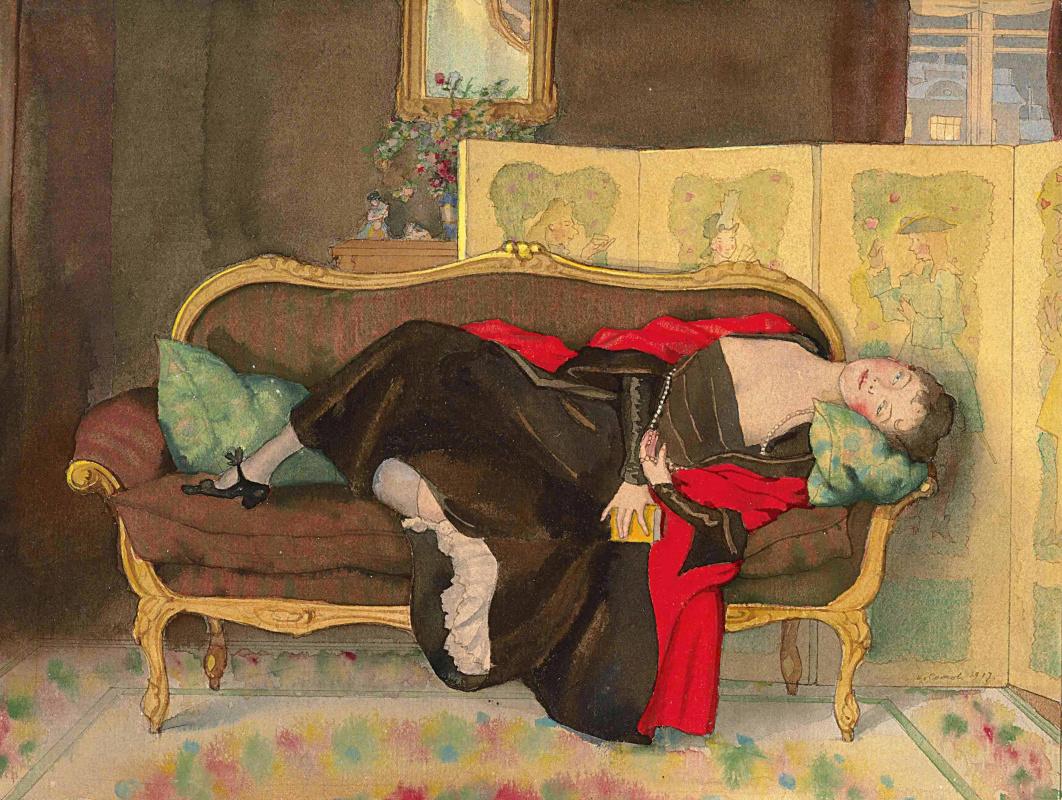 Konstantin Somov. Lady lying on the sofa
