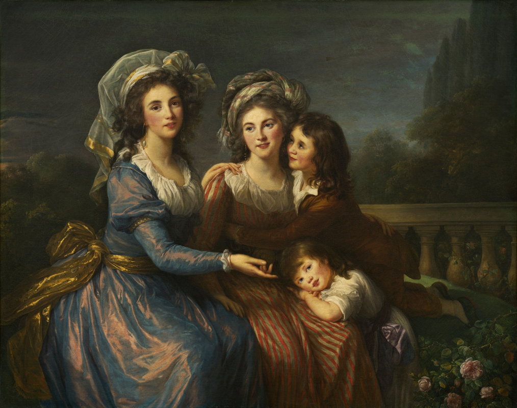 Elizabeth Vigee Le Brun. The Marquis de Pesa and the Marquis Rouge with her sons Alexis and Adrien