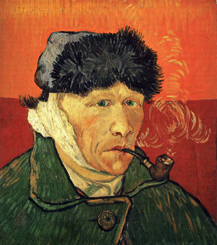 Vincent van Gogh. Self-portrait with bandaged ear and pipe
