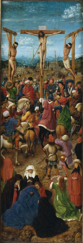 Ян ван Эйк. Распятие, створка диптиха, фрагмент