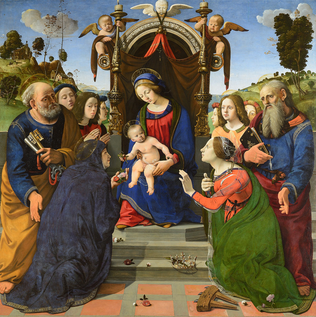Пьеро ди Козимо. Мадонна с младенцем, ангелами и святыми (Разговор святых)