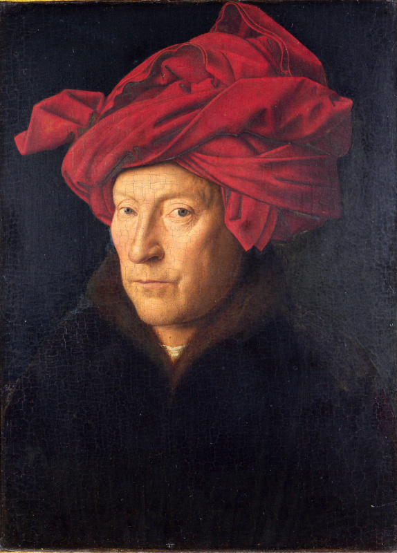 Jan van Eyck. Portrait of a man in a red turban (self Portrait?)